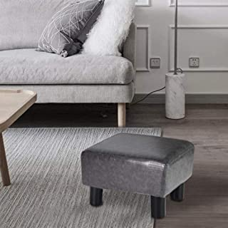 GRUNEN WOLKEN Footrest Small Ottoman Stool PU Faux Leather Modern Rectangle Seat Chair Footstool, Gray