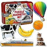 magdum 18 Set Obst+ GEMÜSE+ Bauernhof+ Transport Foto Magnetische Kinder Puzzle Spiel in Gabe TIN Box Junge Mädchen 3 Jahre- ERSTE Puzzle- Magnetische Puzzle Spielzeug Baby Kleinkind