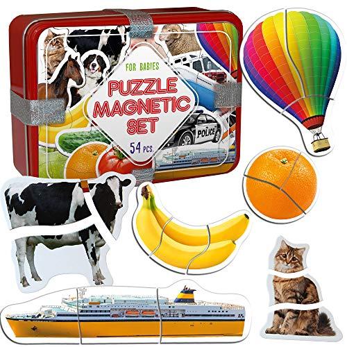 18 Kit Frutas+ Verduras+ Granja+ Transporte Foto Magnética Bebes Puzzle Juego en Caja Lata de Regalo para Niño Niña 3 años  Primer Puzzle  Rompecabezas Imán Juguete Mejor Regalo Niños Infantil