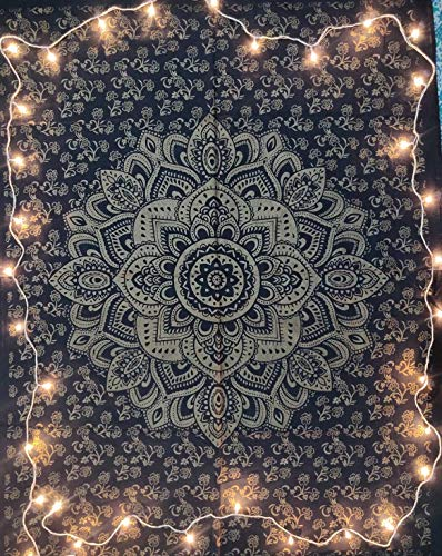 ICC Golden Lotus Flower Poster White Gold Bohemian Ombre Psychedelic Hippie Mandala Tapestry Wall Hanging Decoration Windows gift Decorative Indian Dorm Decor 30x40 in (black)