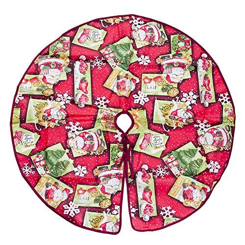 Kentop Jupe de Sapin de Noël Décorations de Noël Arbre Jupes Tapis Vacances Couvre Pied Applique de Noël Style Père noël et Fleurs imprimées 90cm (Style 3)