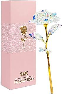 Rose Eternelle, Fleurs Artificielles Deco, 24K Or Rose Galaxy, RoseCadeau pour Maman,Cadeaux Uniques fête des mères Thanks...