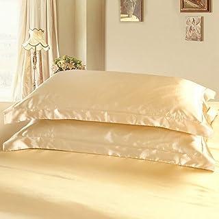 DEHMAN Satin 600 TC Pillow Cover (Light Tan_King)