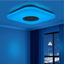Music Ceiling Lights,lighting with Bluetooth Speaker and Remote Control Color Changing and Dimmable Flush Mount Ceiling La...