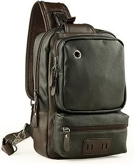 Toupons Men's Unbalance Chest Pack Leather Multipurpose Backpack Crossbody Shoulder Bag Travel Sling Bag