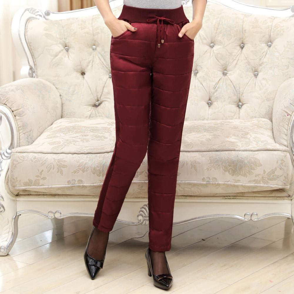ZQSB Pantalon en Duvet pour Femme, Taille Haute, Chaleur épaissie, Minceur, mères d'âge Moyen et âgées, Pantalon en Duvet pour Dames en Hiver-Noir_XXXXL Noir