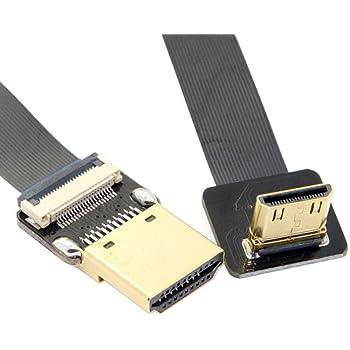 Cable FPV 30cm FPV Micro HDMI Mini HDMI Adaptador DE 90 Grados 5cm-100cm FPC Ribbon Flat HDMI Cable Paso 20pin para Fotograf/ía A/érea Multicopter