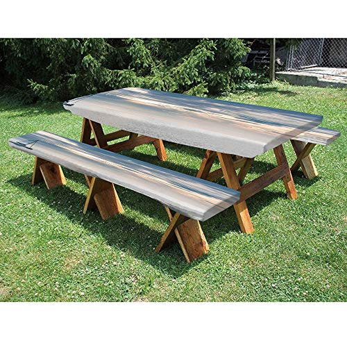 72' Polyester Picnic Table and Bench Fitted Tablecloth,Sailing Yacht in the Morning Time on Tranquil Sea Cloudy Sky Peaceful Marine Image 3-Piece Elastic Edged Table Cover for Christmas,Parties,Picnic