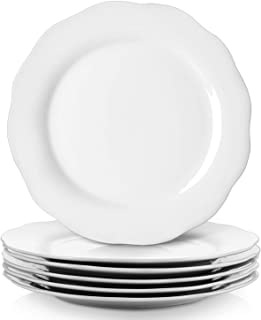 Y YHY White Dinner Plate Set, 10.6 Inches Serving Plate Set of 6, Porcelain Dinner Set for Restaurant, Kitchen and Family ...