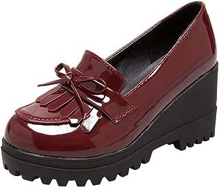 Wedge Oxfords Shoes Women, Girls Tassels Lolita Cosplay Japanese School Uniform Dress Shoes Heel Platform Loafers