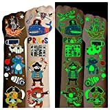 Cerlaza 100 Styles Luminous Pirate Party Supplies, Pirate Temporary Tattoos for Kids Birthday Party Favors Decorations, Fake Pirate Tattoos Stickers Accessories for Boys and Girls Toddlers Body Makeup