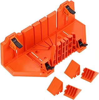 """Skelang Manual Miter Box, Clamping Miter Box, 14"""" ABS Mitre Saw Box, 0, 22.5, 45 and 90 Degree Angle Slot Types Hand Saw Box for Woodworking, Frame Cutting, Plaster Cutting"""