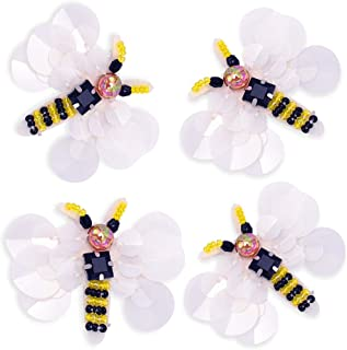 4Pcs Rhinestones Patches Sew on, Premium Sewing Rhinestone Appliques Beads Crystals Embroidery Patch DIY for Wedding Dresses, Shoes, Bags, Headpiece, Clothes, Garment Accessories (Bee 1)