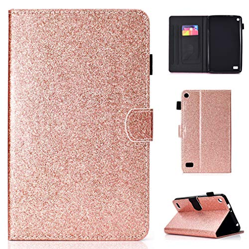LMFULM Case for Amazon Fire 7 2015/2017 (7 Inch) PU Magnetic Cover Shining Case Stent Function Holster Leather Case Flip Cover for Amazon Fire 7 2015/2017 Tablet PC Rose Gold
