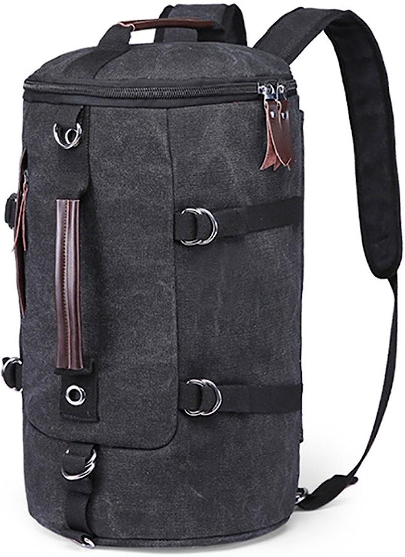 LCPG Rucksäcke Leinwand Outdoor Camping Reise Durch Gehen Schulter Eimer Tasche Multifunktions gelten für einen Sportfan (Farbe   SCHWARZ) B07P8LP4KK  Optimaler Preis