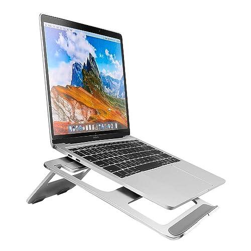 Moutik Support Tablette Ordinateur Portable Pliable Portatif Ergonomique en Aluminium pour Tous Ordinateur Tablette Apple Notebook Laptop Ecran MacBook de 11-15 Pouces - Argent