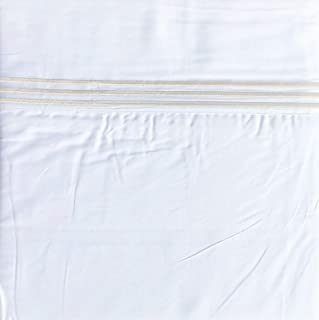 Hotel Bedding Solid White 4pc 100% Cotton Queen Sheet Set with 3 Embroidered Silver Stripes Along Hem Luxury
