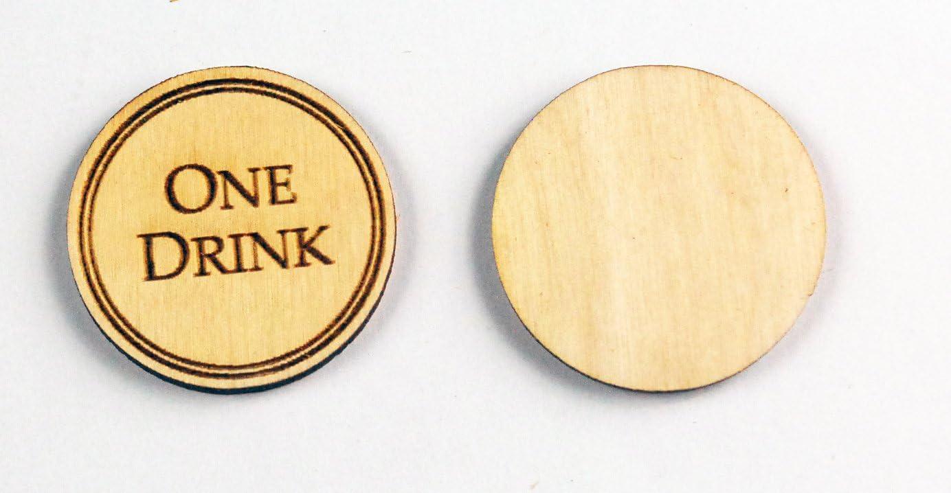 250 Wooden Drink Tokens 期間限定で特別価格 Laser Engraved - 舗