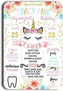 TJ Reusable Easy Clean Metal Tin Magical Unicorn Baby Shower Party Theme Birthday Chalkboard Style Sign Wall Decoration Signs 8'' x 12''- Customizable with Liquid Chalk Markers