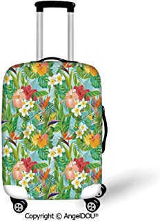 AngelDOU Printed Thicker Travel Suitcase Protective Cover Leaf Vintage Cartoon Style Image of Hawaiian Flowers Crepe Gingers Decorative Blue Light Green Orange and Pink Luggage Case Travel Accessories