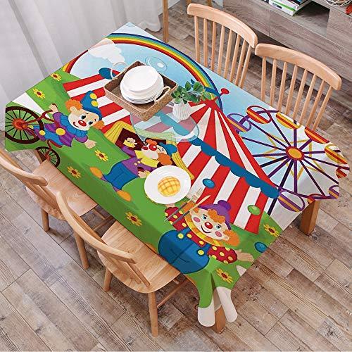 Rechteck Tischdecke140 x 200 cm,Zirkus Dekor, lustige Zirkusszene mit Clowns auf Gras Regenbogen Riesen,Couchtisch Tischdecke Gartentischdecke, Mehrweg, Abwaschbar Küchentischabdeckung für Speisetisch