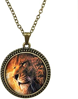 SunShine Day Fashion Necklace Aslan The Lion The Witch And The Wardrobe Narnia Necklace Glass Cabochon Necklace