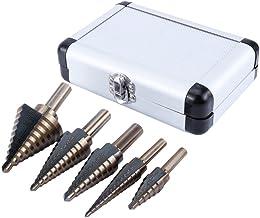 5 brocas para taladro de múltiples agujeros con estuche para cortador de agujeros de madera de metal, 3/16 pulgadas, 1/8 pulgadas, 1/4 pulgadas, 1/2 pulgadas