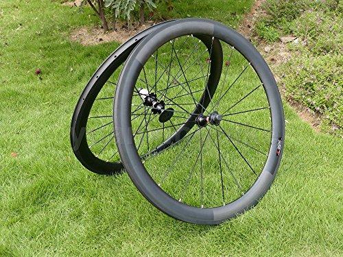 yuanxingbike Full Carbon 3K Matt Rennrad Drahtreifen Felge 50mm Basalt Bremse Seite Breite 23mm Toray Carbon Laufradsatz für Campagnolo