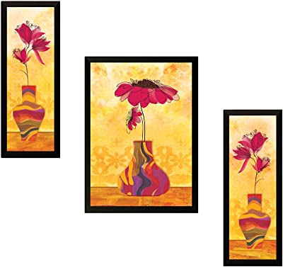 SAF UV Textured Flower Print Framed Painting Set of 3 for Home Decoration Size 35 x 2 x 50 cm SAFOSA7715 (SAO7715)