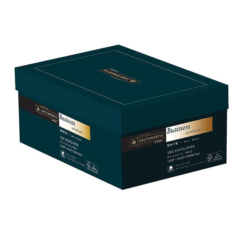 Southworth 25% Cotton #10 Business Envelopes, 24 Pounds, White, 250 Count (J404-10)