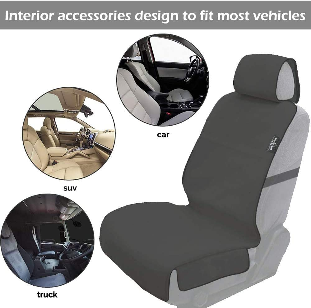 100/% Waterproof Front Seat Cover Heavy Duty Neoprene Drivers Seat Protector Cover Universal Car Front Seat Cover Tear Resistant Fabric Absorbent Sweat Seat Covers Grey Big Ant Car Seat Covers