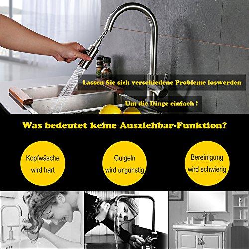Homelody Spültischarmatur mit herausziehbarem /Ausziehbar Brause Einhebelmischer Wasserhahn Küche Armatur Mischbatterie Wasserkran hoher Auslauf Küchenarmatur - 3