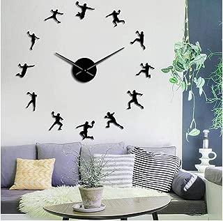 fxtdtt Patrón de Balonmano Reloj de Pared DIY sin Marco Reloj Grande entusiastas del Deporte Entrenador de Balonmano Mejor Regalo(Negro)