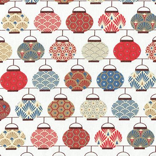 Textiles français Tela de algodón Estampada - Linternas Japonesas - Rojo, Azul, Gris, Beige y Gris Pardo sobre un Fondo Blanco Crema - 100% algodón Suave | Ancho: 160 cm (por Metro Lineal)*
