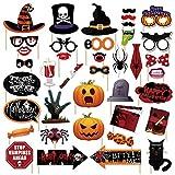 HENTEK Halloween Fotobox Requisiten Fotorequisiten Photobooth Accessoires DIY Für Halloween Party Dekorationen Kürbis Spinne Brille Hut...