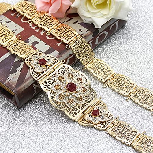 Cinturón de caftán para Mujer de Marruecos, Color Dorado, Rojo, Verde, Piedra, Vestido de Novia étnico, Kaftan Abaya, cinturón de Cadena de Metal para la Cintura, joyería