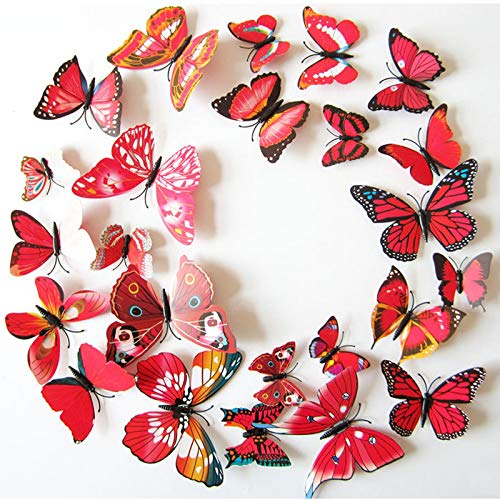 CVG 12Pcs 3D Red/White Magnet Butterflies DIY Wall Sticker for Home Decor Butterfly on The Wall Fridage Stickers Wedding Decoration