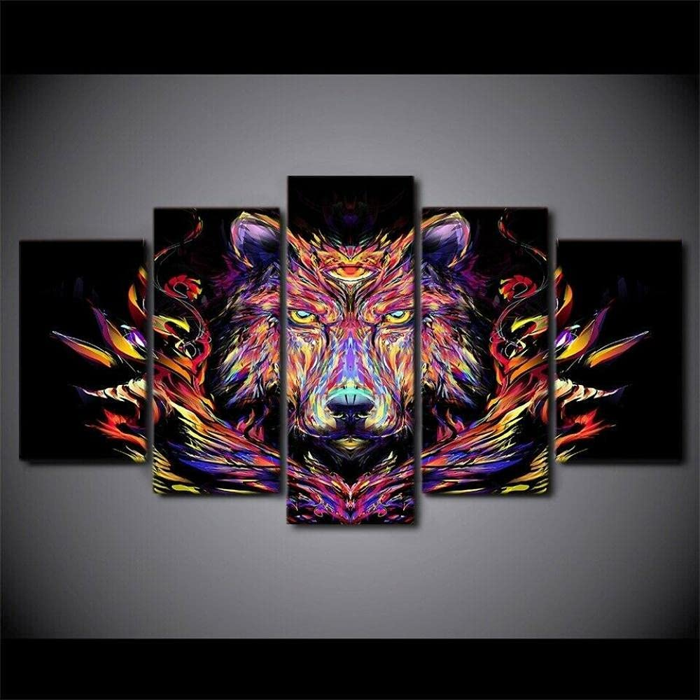 5 Piece Canvas Wall At Max 51% OFF the price Art Panel colorful Bear Abstract