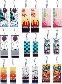 9 Pairs Demon Slayer Tanjiro Earrings Anime Cosplay Dangle Earrings for Women Men Girls Kimetsu No Yaiba Acrylic Hanafuda ...