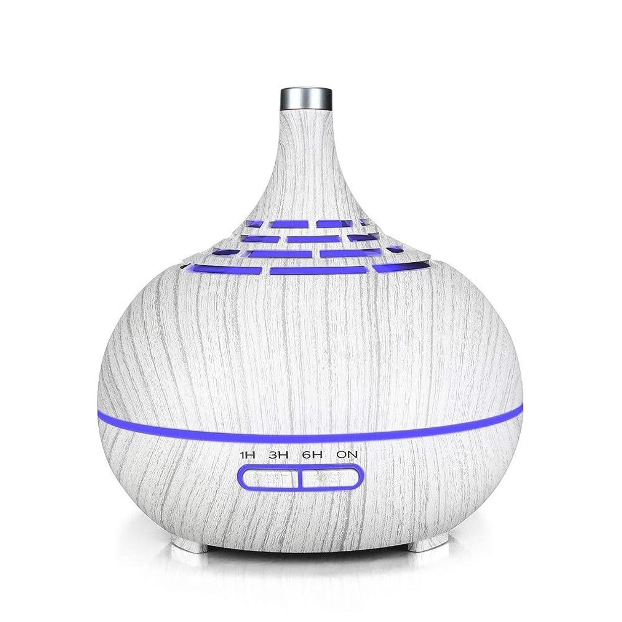 盲信連隊形状空気加湿器、家庭用木目サイレント空気浄化加湿器、中空のカラフルなナイトライト空気加湿器、リビングルームの使用に適した、白い木目