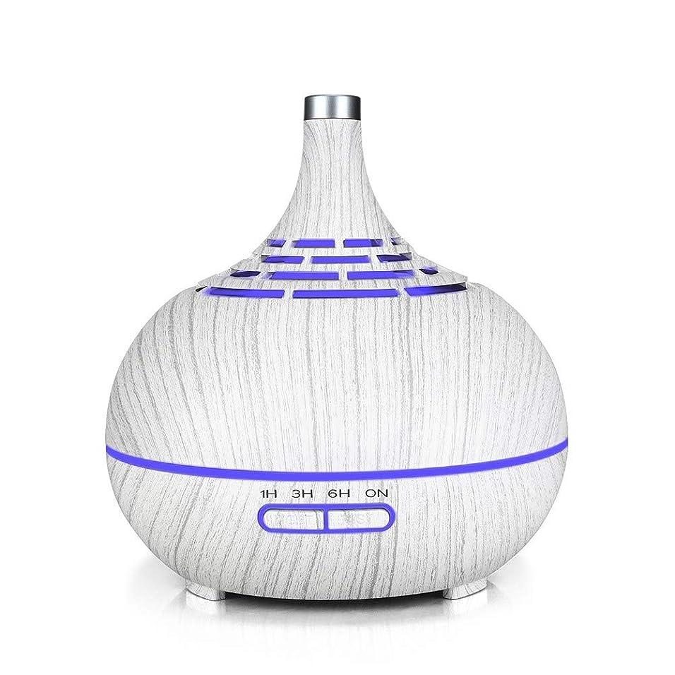 反響する持続的ビヨン空気加湿器、家庭用木目サイレント空気浄化加湿器、中空のカラフルなナイトライト空気加湿器、リビングルームの使用に適した、白い木目