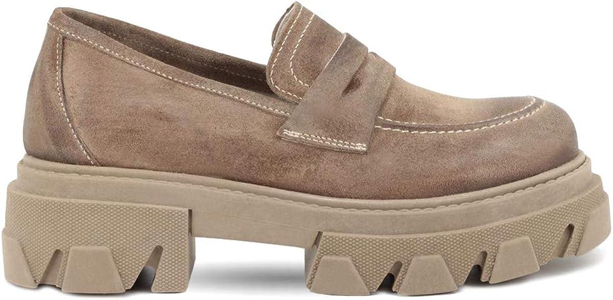 QUEEN HELENA Francesine Mujer de piel Made in Italy Cl/ásicos Sin Cordones Mocasines Zapatos Mujer GIULIA02