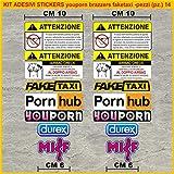 Kit Adesivi Stickers Moto decal fun tube porn youporn faketaxi fun -14 Pezzi- Scegli Colore cod.1086 (Multicolor)