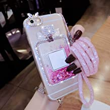 JYBDYL Phone case Case for iPhone for Samsung S6 S7 Edge S8 S9 S10 Plus Note 4 5 8 9 Rhinestone Bling Liquid Sand Bottle Quicksand Soft Phone case Capa Coque,Pink,for Galaxy S9 Plus