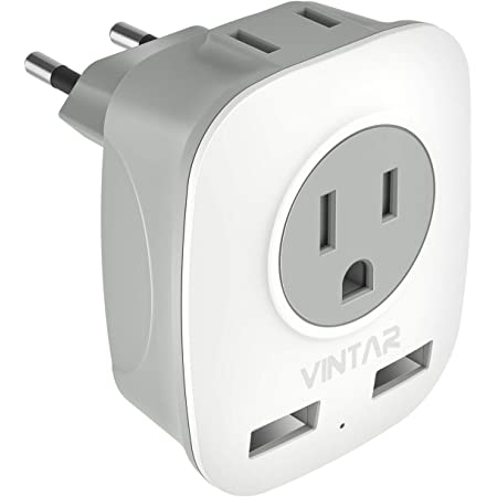 European Plug Adapter, VINTAR International Power Adaptor with 2 USB Ports,2 American Outlets- 4 in 1 European Plug Adapter for France, Germany, Greece, Italy, Israel, Spain (Type C)