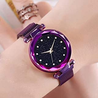 Acnos Black Round Diamond Dial with Latest Generation Purple Magnet Belt Analogue Watch for Women Pack of - 1 (DM-PURPLE23)