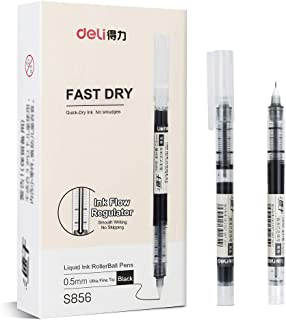 Deli 12 Pack Instant Dry Rolling Ball Gel Pens, Smudge-free No Bleed Liquid Gel Ink Pens, Fine Point Rollerball Pens
