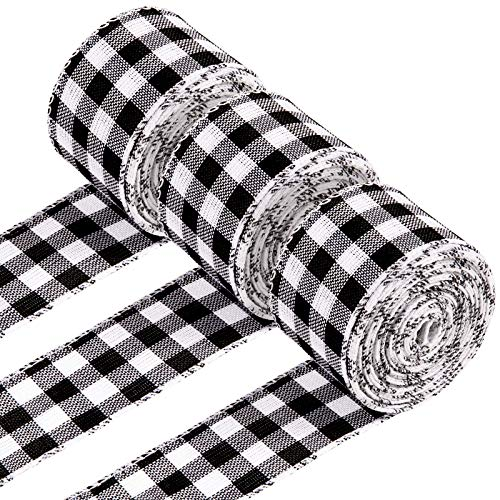 Whaline 3 Rolls Wired Edge Ribbons 30 Yards x 1 Inch Black White Buffalo Plaid Ribbon Vintage Ribbon Farmhouse Craft Ribbon for DIY Gift Wrapping Wreath Floral Arrangement Crafts Christmas Decoration