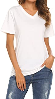 Qearal Women's Summer Short Sleeve V-Neck Loose Casual Tee T-Shirt Tops