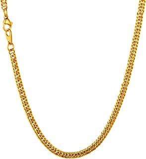 Men Hip Hop Chunky Chain Width 3.5mm-12mm, Custom Engrave Available Stainless Steel/Black Gum/18K Gold Plated Jewelry Thick Franco Curb Link Necklace, Length 18